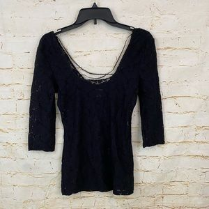 Intimately Free People S black lace 3/4 shirt top